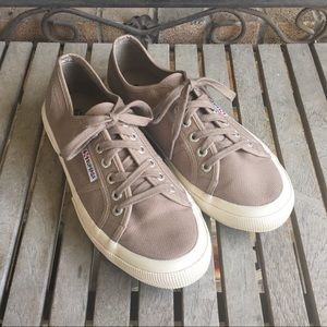 Superga Taupe Lace Up Sneakers